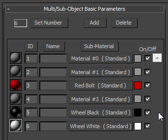 Multi-Subobject Material Parameters