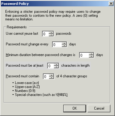 Bad password policy example