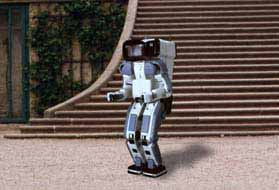 Robot in front of staircase